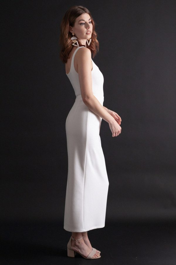 Figure hugging bodysuit and skirt bridal separates with low, square neckline, shoulder straps, and ankle length column skirt.